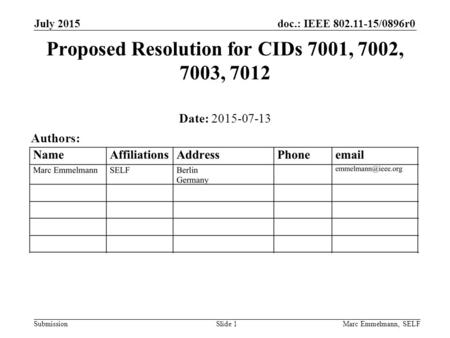 Doc.: IEEE 802.11-15/0896r0 Submission July 2015 Marc Emmelmann, SELFSlide 1 Proposed Resolution for CIDs 7001, 7002, 7003, 7012 Date: 2015-07-13 Authors: