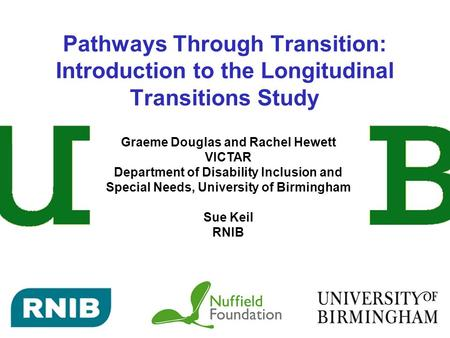 Pathways Through Transition: Introduction to the Longitudinal Transitions Study Graeme Douglas and Rachel Hewett VICTAR Department of Disability Inclusion.