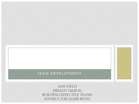 TEAM DEVELOPMENT AMY FJELD HRM345-1404B-02 BUILDING EFFECTIVE TEAMS INSTRUCTOR: JAMIE BOYD.