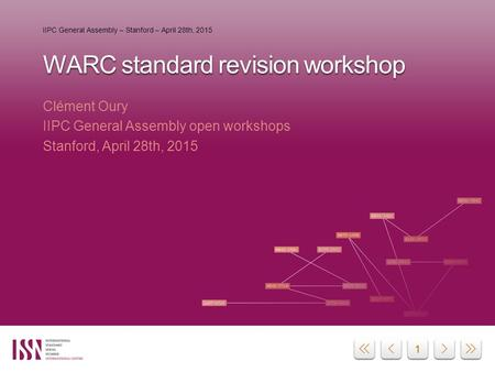 11 WARC standard revision workshop Clément Oury IIPC General Assembly open workshops Stanford, April 28th, 2015 IIPC General Assembly – Stanford – April.