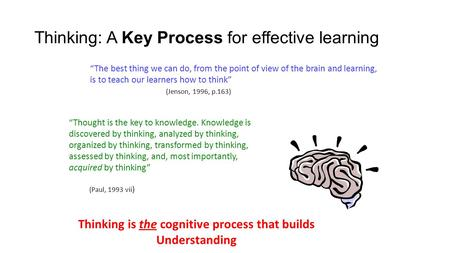 "Thinking: A Key Process for effective learning ""The best thing we can do, from the point of view of the brain and learning, is to teach our learners how."