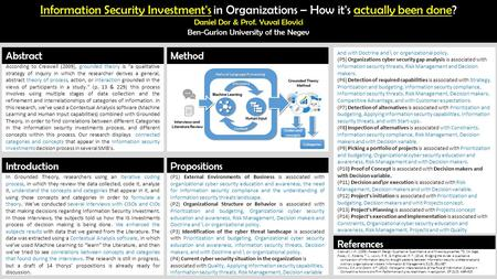 Information Security Investment's in Organizations – How it's actually been done? Daniel Dor & Prof. Yuval Elovici Ben-Gurion University of the Negev According.