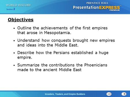 Objectives Outline the achievements of the first empires that arose in Mesopotamia. Understand how conquests brought new empires and ideas into the Middle.