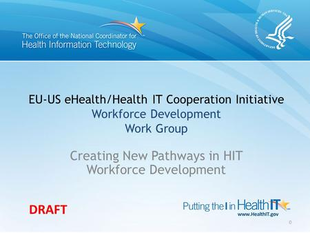 EU-US eHealth/Health IT Cooperation Initiative Workforce Development Work Group Creating New Pathways in HIT Workforce Development 0 DRAFT.