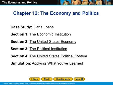 Chapter 12: The Economy and Politics