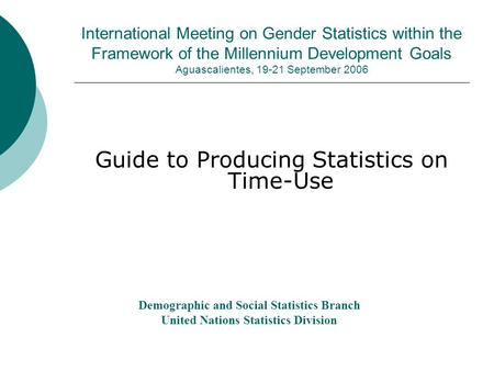 International Meeting on Gender Statistics within the Framework of the Millennium Development Goals Aguascalientes, 19-21 September 2006 Guide to Producing.