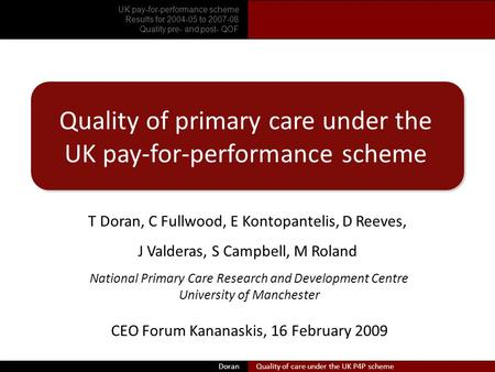 Doran Quality of primary care under the UK pay-for-performance scheme T Doran, C Fullwood, E Kontopantelis, D Reeves, J Valderas, S Campbell, M Roland.