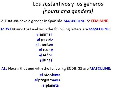 Los sustantivos y los géneros (nouns and genders) ALL nouns have a gender in Spanish: MOST Nouns that end with the following letters are MASCULINE: l o.