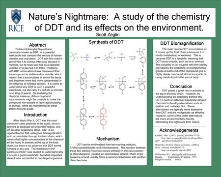 Nature's Nightmare: A study of the chemistry of DDT and its effects on the environment. Abstract Dichlorodiphenyltrichloroethane, commonly known as DDT,