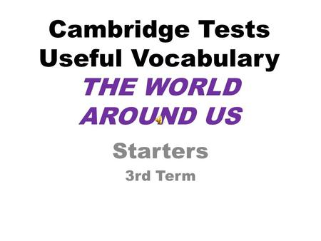 Cambridge Tests Useful Vocabulary THE WORLD AROUND US Starters 3rd Term.