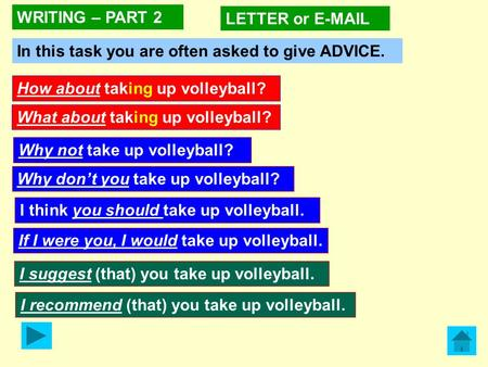 I think you should take up volleyball. How about taking up volleyball? What about taking up volleyball? WRITING – PART 2 LETTER or E-MAIL In this task.
