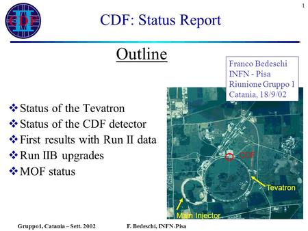 Gruppo1, Catania – Sett. 2002F. Bedeschi, INFN-Pisa 1 CDF: Status Report  Status of the Tevatron  Status of the CDF detector  First results with Run.
