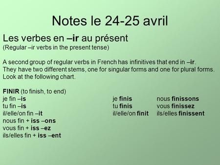 Notes le 24-25 avril Les verbes en –ir au présent (Regular –ir verbs in the present tense) A second group of regular verbs in French has infinitives that.