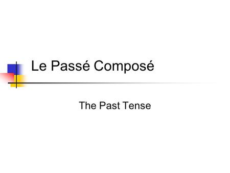 Le Passé Composé The Past Tense Verb tenses Actions do not always take place in the present. To express the past in French, use the verb tense called…