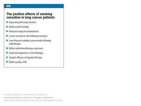 Andreas, S; Rittmeyer, A; Hinterthaner, M; Huber, R M Smoking Cessation in Lung Cancer—Achievable and Effective Dtsch Arztebl Int 2013; 110(43): 719-24;
