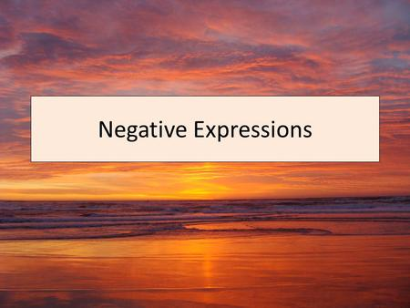 Negative Expressions. Negative expressions in Spanish go either before or after the verb. If they are placed after the verb, place no before the verb.