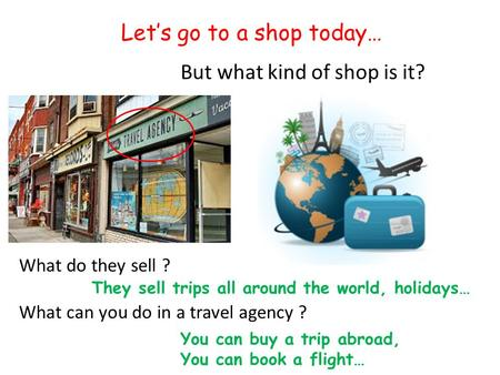 Let's go to a shop today… But what kind of shop is it? What do they sell ? What can you do in a travel agency ? They sell trips all around the world, holidays…
