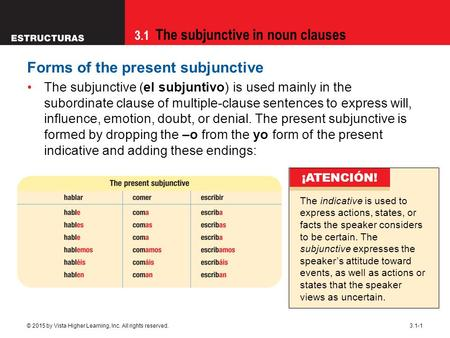 3.1 The subjunctive in noun clauses © 2015 by Vista Higher Learning, Inc. All rights reserved.3.1-1 Forms of the present subjunctive The subjunctive (el.