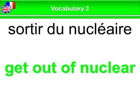 Get out of nuclear sortir du nucléaire Vocabulary 3.