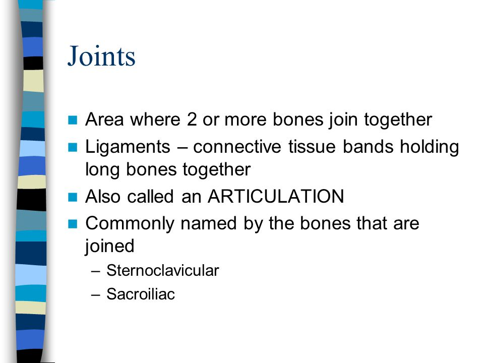 3 types of joints Synarthrosis –Immoveable Cranium sutures Pelvic girdle Amphiarthrosis –Slightly moveable Vertebral disks Symphysis pubis Sacroiliac Diarthrosis (also called synovial joints) –Freely moveable Shoulder, elbow, wrist, fingers Hips, knees, ankles, toes