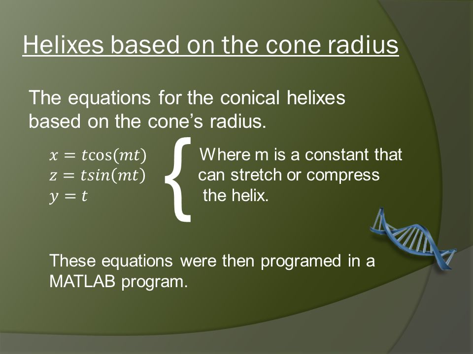 Simple Cone with Helixes based on the radius Viewm = 0.5m = 2 Angle Side