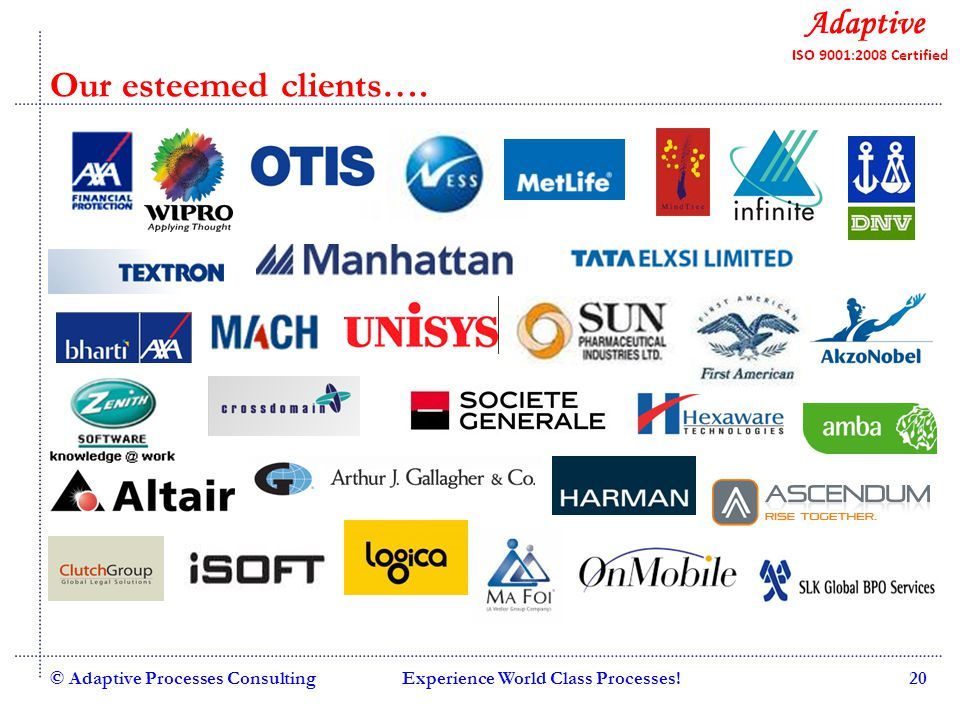 Quality Consulting © Adaptive Processes ConsultingExperience World Class Processes!21 Our esteemed clients….