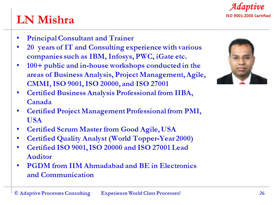 Quality Consulting Wing Commander Bijay Jyotishi Principal Consultant and Trainer Six Sigma Master Black Belt 25+ years of IT and Consulting experience with Wipro and Indian Air Force.