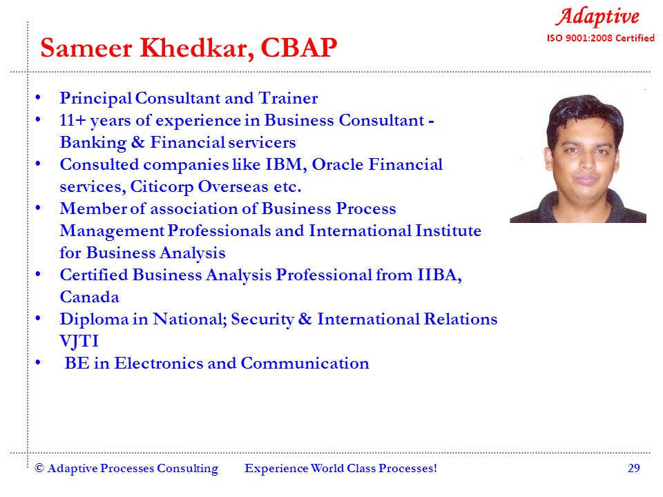 Quality Consulting Harit B, CBAP Senior Consultant and Trainer 8+ years of IT and Consulting experience with various companies such as Changi International Airport, Uthink L&T Infotech, etc.