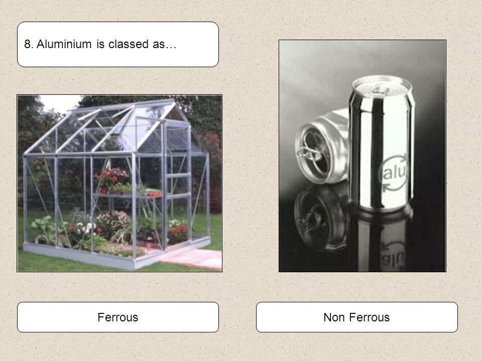 Non FerrousFerrous 8. Aluminium is classed as…