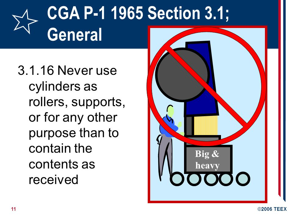 12©2006 TEEX CGA P-1 1965 Section 3.1; General 3.1.17 Keep cylinder valve closed at all times, except when cylinder is in active use 3.1.18 Notify cylinder owner if any condition might have permitted any foreign substance to enter the cylinder or valve: Provide details of incident Provide the cylinder serial number