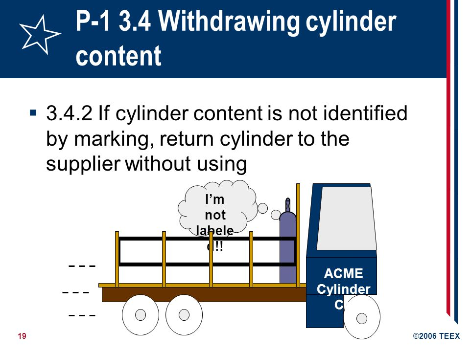 20©2006 TEEX P-1 3.4 Withdrawing cylinder content 3.4.4 Before using a cylinder, be sure it is properly supported to prevent it from being knocked over 3.4.5 Suitable pressure regulating devices must be used