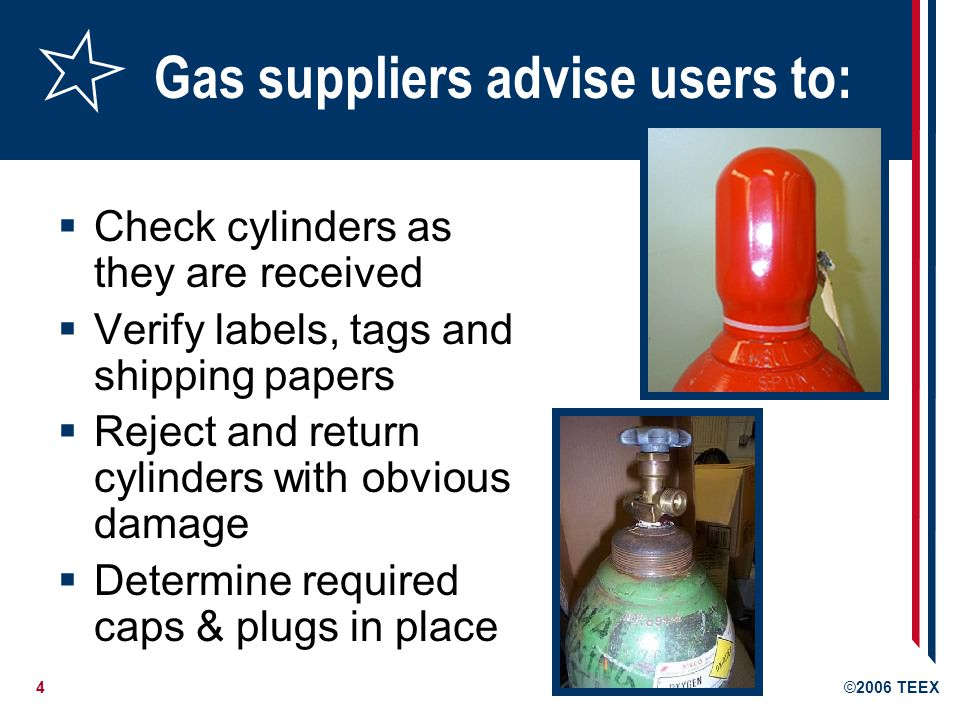 5©2006 TEEX CGA C-6 1968 3.2.6 - Bulges: Cylinders are manufactured with reasonably symmetrical shape Cylinders which have definite bulges shall be removed from service Bulged - cylinder wall failure