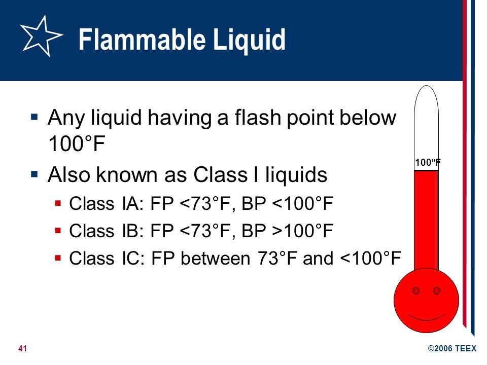 42©2006 TEEX Flash Point Fº 200 Fº 140 Fº 100 Fº 73 Fº Boiling Point Fº IA IB IC II III Combustible Flash point > 100 Fº Flammable Flash point < 100 Fº 100 Fº