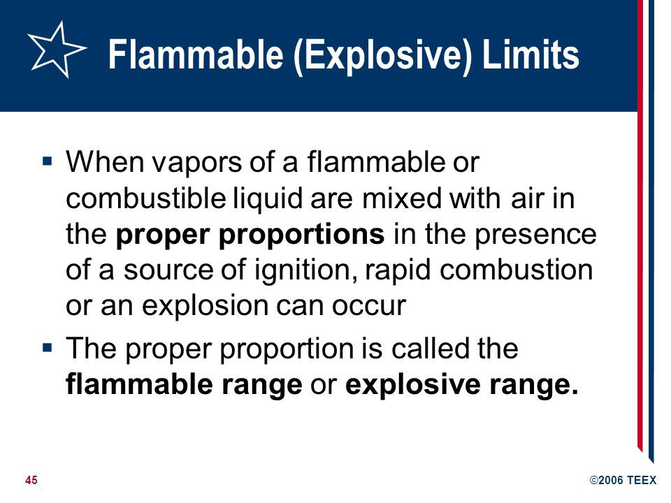 46©2006 TEEX Flammable (Explosive) Limits Flammable range includes all concentrations of flammable vapor or gas in air in which a flash will occur or a flame will travel if the mixture is ignited.