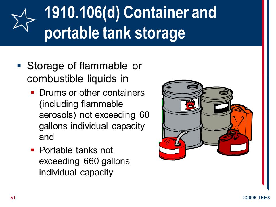 52©2006 TEEX 1910.106(d) Container and portable tank storage Not applicable in bulk plants, service stations, refineries, chemical plants Only approved containers and portable tanks shall be used Metal containers & portable tanks meeting DOT Hazardous Materials regs are OK