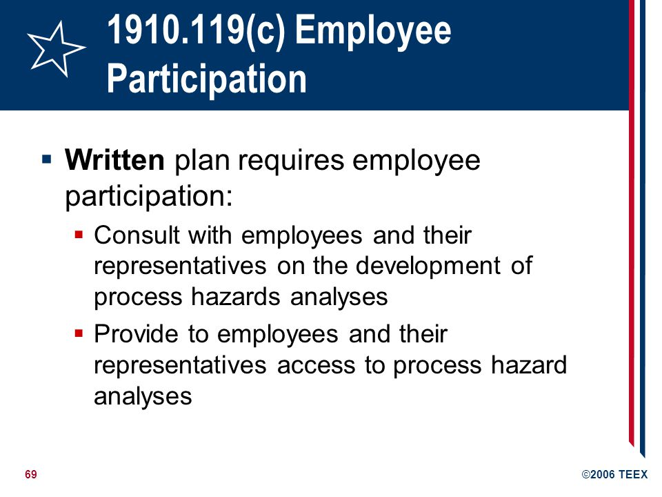 70©2006 TEEX 1910.119(d) Process safety information Compile written process safety information before conducting any process hazard analysis: Enables employer and employees involved in the process to identify and understand the hazards posed by those processes Hazards of the process Technology of the process The equipment in the process
