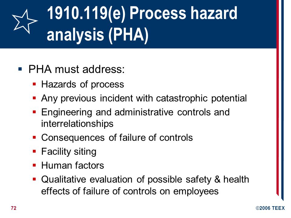 73©2006 TEEX 1910.119(e) Process hazard analysis (PHA) PHA must be performed by a team with expertise in engineering and process operations At least one employee who has experience and knowledge specific to the process being evaluated One team member must be knowledgeable in the specific process hazard analysis methodology being used