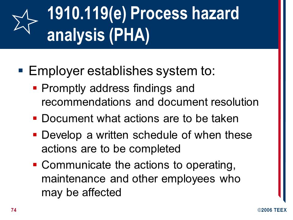75©2006 TEEX 1910.119(f) Operating procedures Develop and implement written operating procedures consistent with the process safety information and addresses at least: Initial start-up, normal and temporary operations Normal and emergency shut-down procedures Operating limits and consequences of deviation Safety and health considerations Procedures must be readily accessible to employees