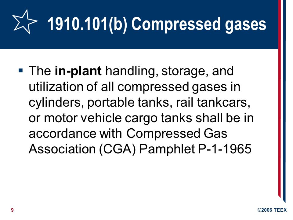10©2006 TEEX CGA P-1 1965 Section 3.1; General 3.1.14 Never tamper with the safety relief devices in valves or cylinders 3.1.15 Never attempt to repair or to alter cylinders, valves, or safety relief devices