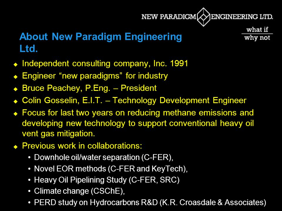 About New Paradigm Engineering Ltd.Independent consulting company, Inc.