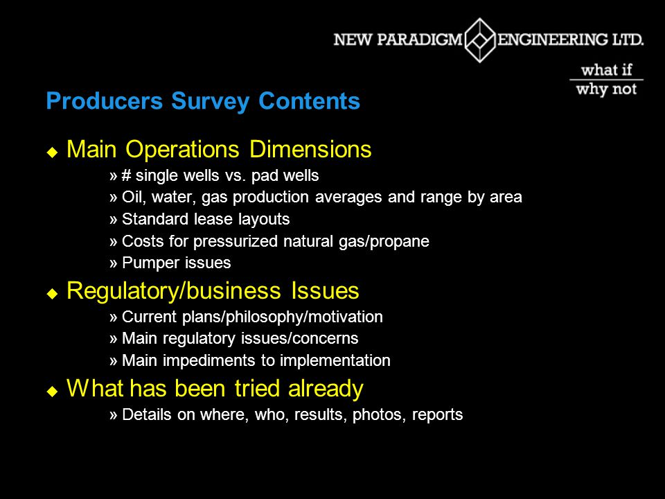 Producers Survey Contents Main Operations Dimensions »# single wells vs.