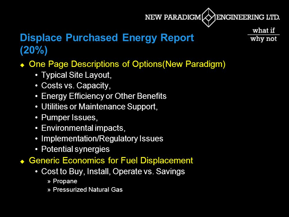 Displace Purchased Energy Report (20%) One Page Descriptions of Options(New Paradigm) Typical Site Layout, Costs vs.