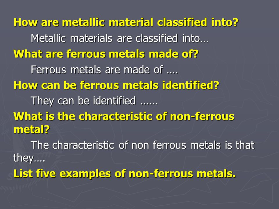 List eight common pure metals. What is an alloy? An alloy is …