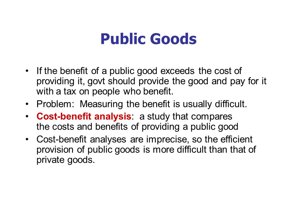 Some Important Public Goods National defense Knowledge created through basic research Fighting poverty
