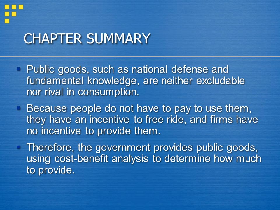 CHAPTER SUMMARY Common resources are rival in consumption but not excludable.