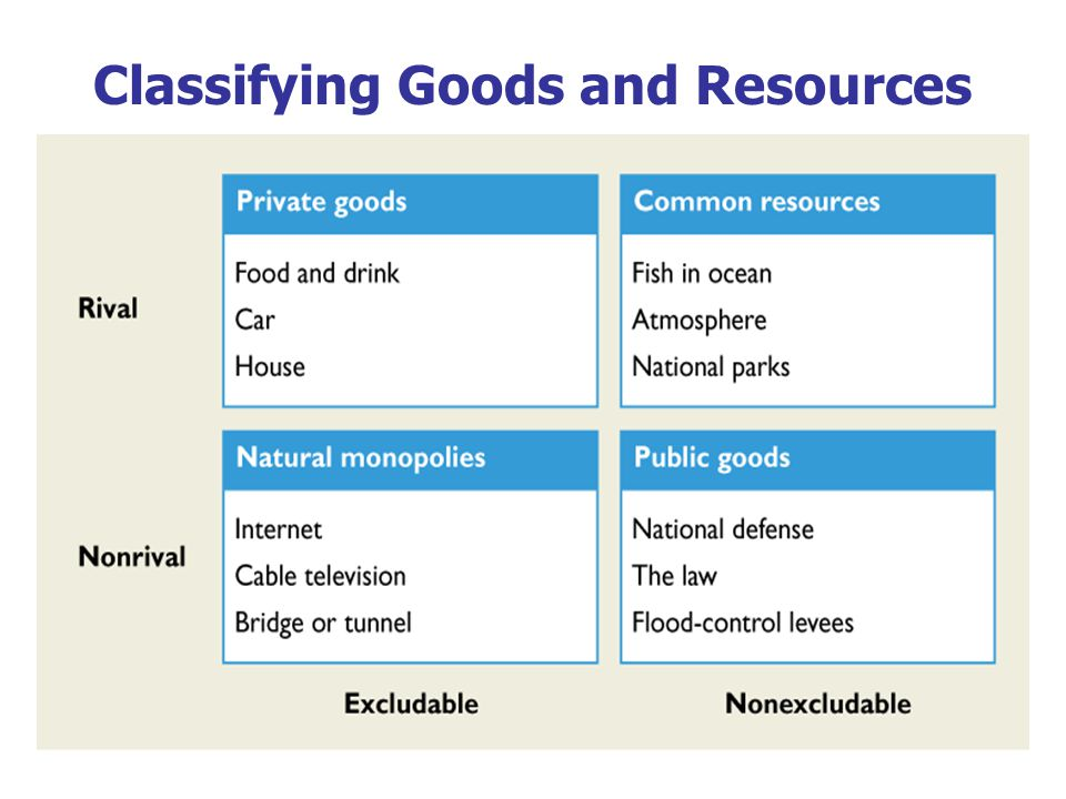The Different Kinds of Goods This chapter focuses on public goods and common resources.
