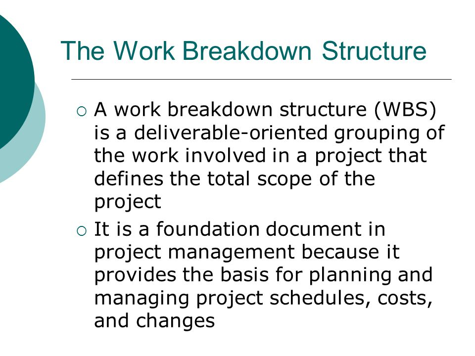 Approaches to Developing WBSs Using guidelines: Some organizations, like the DoD, provide guidelines for preparing WBSs The analogy approach: Review WBSs of similar projects and tailor to your project The top-down approach: Start with the largest items of the project and break them down The bottom-up approach: Start with the detailed tasks and roll them up Mind-mapping approach: Write down tasks in a non- linear format and then create the WBS structure