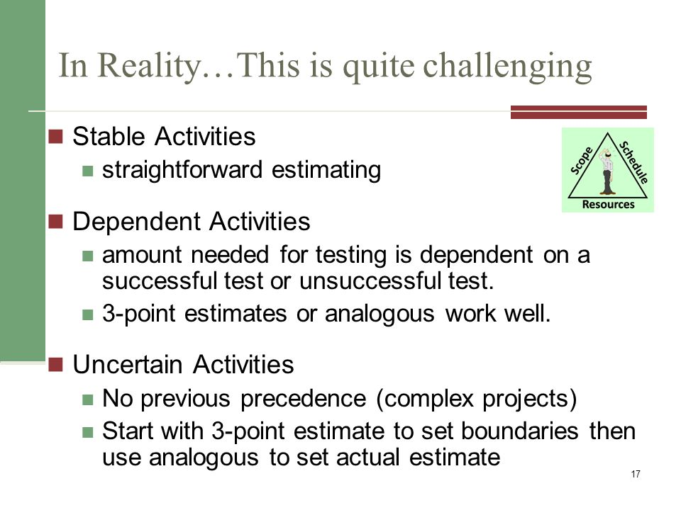 P5: Developing the Schedule Ultimate goal is to create a realistic project schedule that provides a basis for monitoring project progress for the time dimension of the project 18 Input 1) Activity List & Attributes 2) Activity Resource Reqs 3) Resource Calendars 4) Schedule Diagrams 5) Duration Estimate 6) Scope Statement 7) Enterprise Factors 8) Org Process Assets Output 1) Project Schedule 2) Schedule baseline 3) Schedule data 4) Updates to Project Docs Tools/Techniques 1) Schedule Network analysis 2) Critical Path Method 3) Schedule Compression 4) What-if Scenarios 5) Resource Leveling 6) Critical Chain Method 7) Applying Leads/Lags 8) PM Software