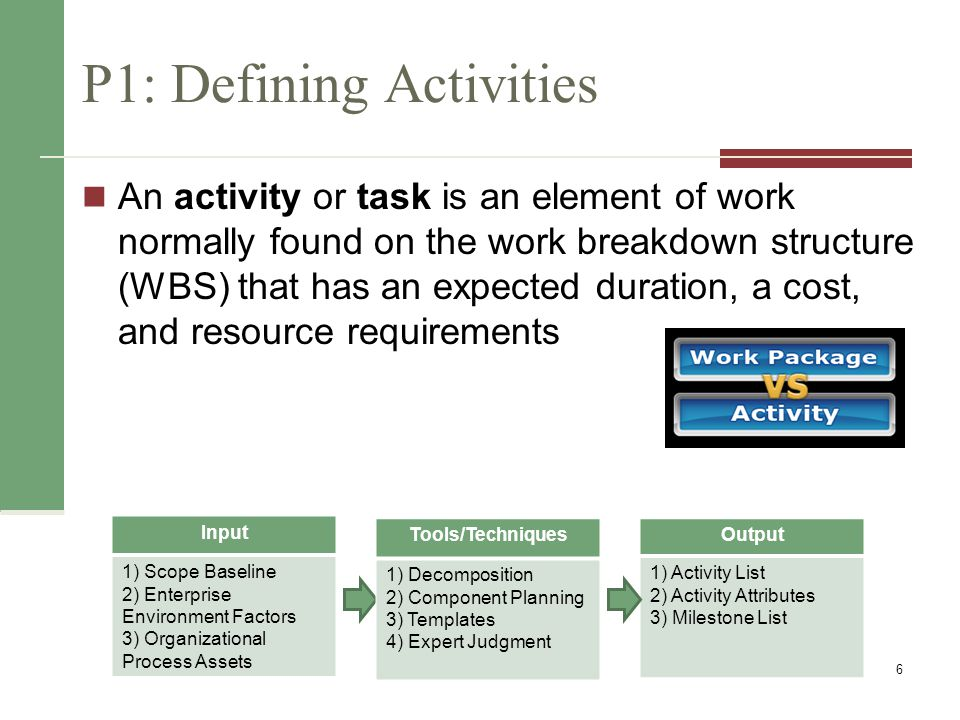 Activity Lists, Attributes & Milestones An activity list is a tabulation of activities to be included on a project schedule that includes Activity attributes A milestone is a significant event that normally has no duration Examples include obtaining customer sign-off on key documents or completion of specific products 7