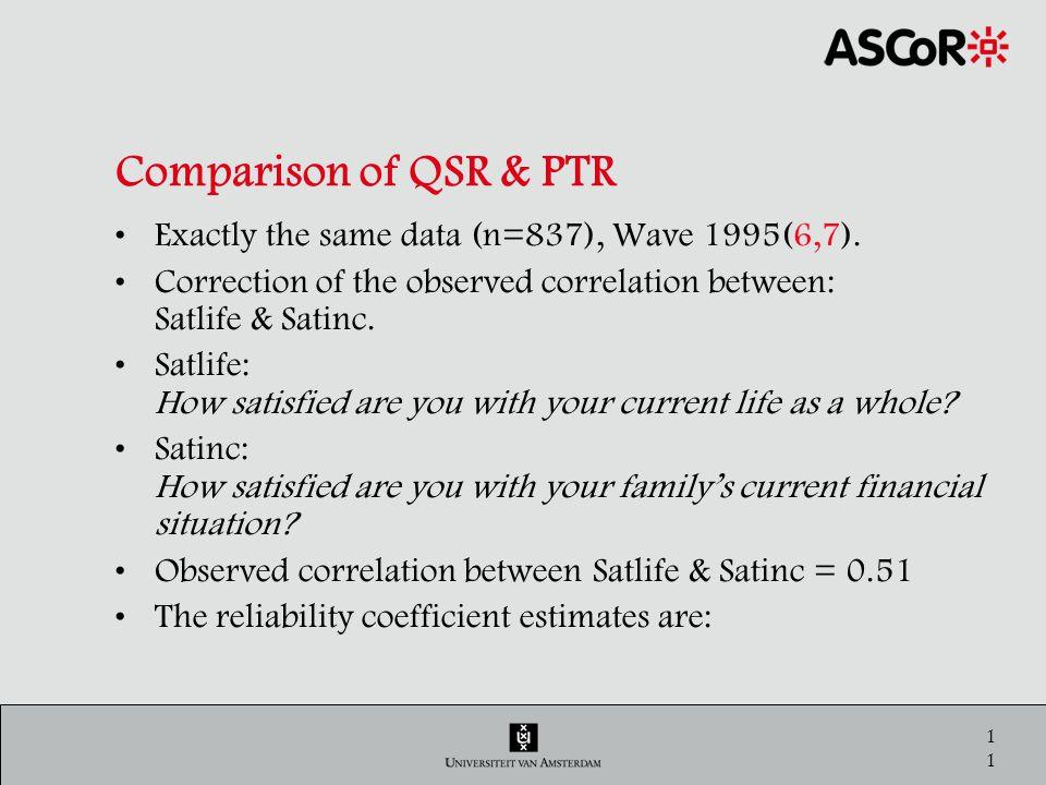 12 Comparison of QSR & PTR Standardized estimates of reliability coefficients QSRCPTRC λ1λ1 λ 2-6 λ3λ3 λ 2-m2 SATLIFE0.590.580.590.85 SATINC0.570.530.630.84 Cor(Satlife, Satinc)=.51 ρ 21 =